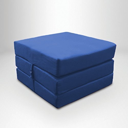 Blue Water Resistant Fold Out Z Bed Cube Mattress with Fastening Ready Steady Bed