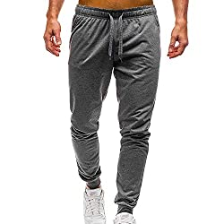 Mens Workout Sportswear Elastic Fitness Overalls Leisure Drawstring Pocket Sport Work Casual Trouser Pants Size M-2XL
