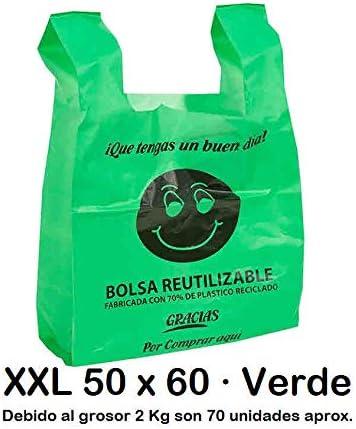 Bolsas de Plástico Tipo Camiseta Resistentes, Reutilizables y Recicladas | Galga 200 | Tamaño XXL 50x60 cm | 2 Kg - 70 uds Aprox. | 70% Recicladas | Cumple Normativa | Aptas Uso Alimentario | Verdes