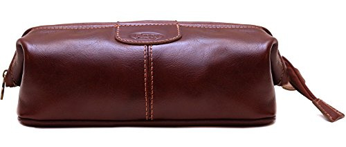 Floto Venezia Dopp Kit in Brown Full Grain Leather by Floto