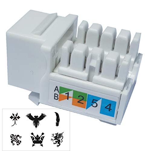 (Keystone Jack RJ45 Ethernet Module Cat6 Network Coupler Punch Down Adapter Compatible Cat 6/5e/5 Connector(10-Pack White))