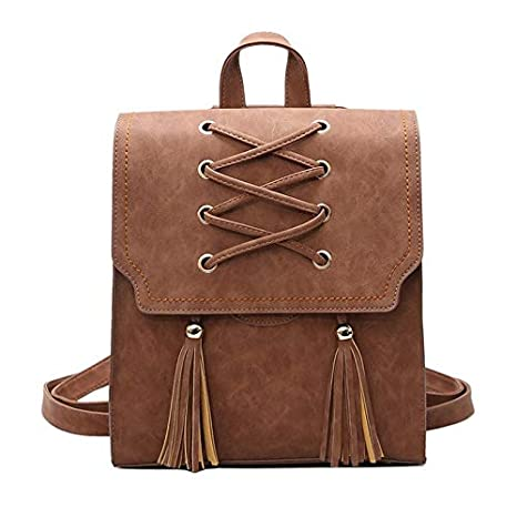 2018 Designed Solid Color PU Leather Womans Backpack Fashionable Tassels Girls Schoolbag Exquisite Mini
