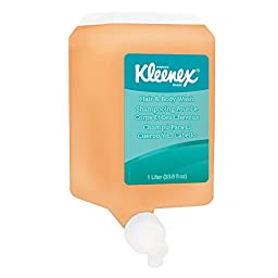 Kleenex Luxury Foaming Hair and Body Wash (91557), Citrus Scent Shampoo, Yellow / Clear, 1.0 L, 6 Packages / Case