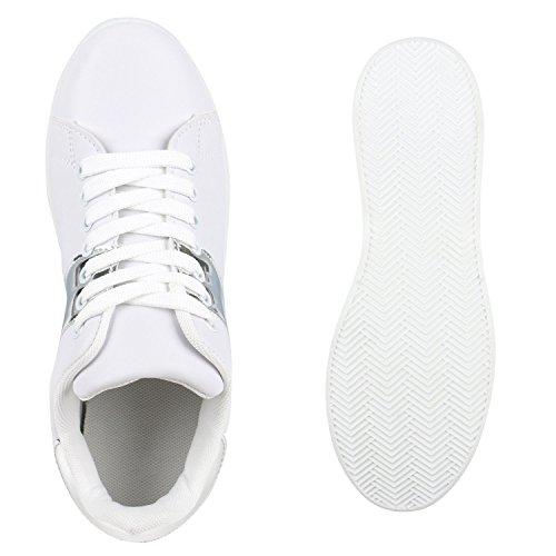 Stiefelparadies Damen Sneaker Low Basic Flandell Weiss Silber Lack