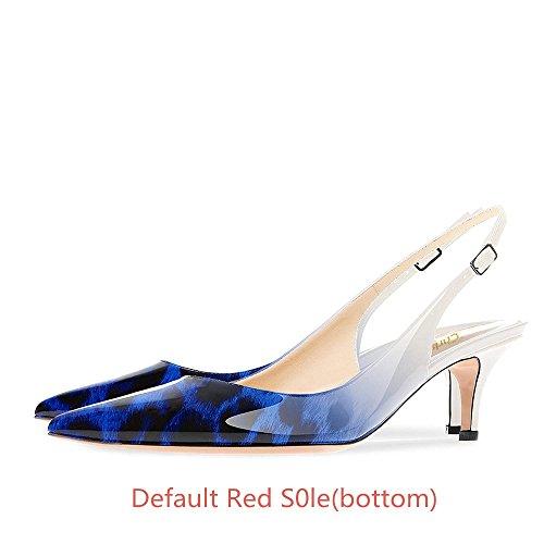 Escarpins de Chaton Talon Pan Femmes Cheville Blue Caitlin Sangles Chaussures Leopard 65MM Pointu soirée Escarpins Semelle Bout de Rouge de nOEP5