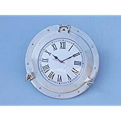 Brushed Nickel Deluxe Class Porthole Clock 15 - Natucial Wall Clock - Clock De