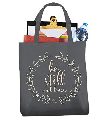 Be Still and Know Psalm 46:10 Religious Canvas Tote Bag]()