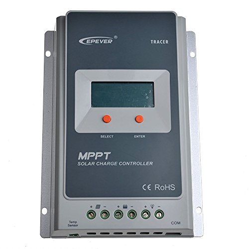 EPEVER 40A MPPT Solar Charge Controller 100V PV Negative Grounded Tracer 4210AN With Bluetooth + eBox-BLE-01 + Temp Sensor Solar Regulator with LCD Display for Solar Battery Charging (Temp Solar Sensor)