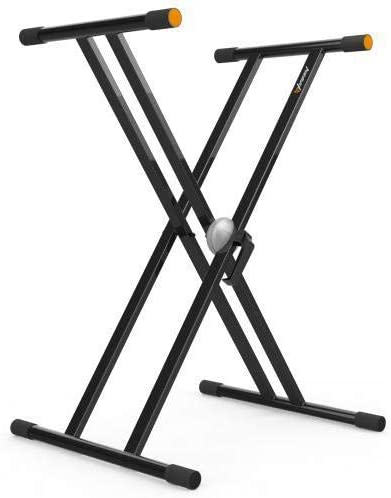 Audibax Onyx 130 PLUS Soporte Piano, Estructura Tijera Doble, Anclajes Easy Lock, Material: Acero, Color: Negro, Base Antideslizante, Carga hasta 65 ...