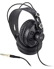 TIE studio koptelefoon semi-open circumaural voor radio, opnamestudio, podcast en multimedia toepassingen (3m, 3,5 mm jack plug, 6,3 mm schroefadapter)