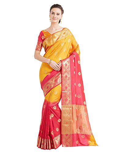 Viva N Diva Sarees for Women's Banarasi Party Wear Shaded Pink Mustard Colour Banarasi Art Silk Saree with Un-Stiched Blouse Piece,Free Size