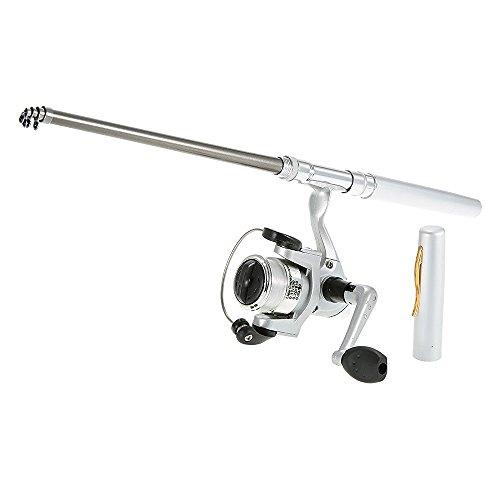 Mini Pocket Pen (Docooler Mini Aluminum Saltwater Fishing Tackle Pocket Pen Fishing Rod Pole + Reel)