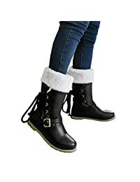 Susanny Winter Women Faux Fur Mid Calf Riding Boots Outdoor Sweet Lace Up Back Flat Warm Snow Booties