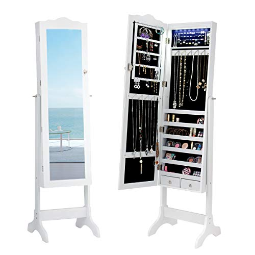 Giantex Jewelry Armoire Cabinet Organizer with Mirror, Lockable with Key 14 Auto-on LED Lights Full Length Mirrored Bedroom Cabinets, Floor Standing Jewelry Armoires Box with 2 Drawers (White)