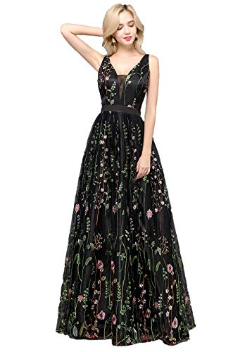 YSMei Women's V Neck Floral Embroidered Prom Dress Long Evening Formal Party Gown Black 10
