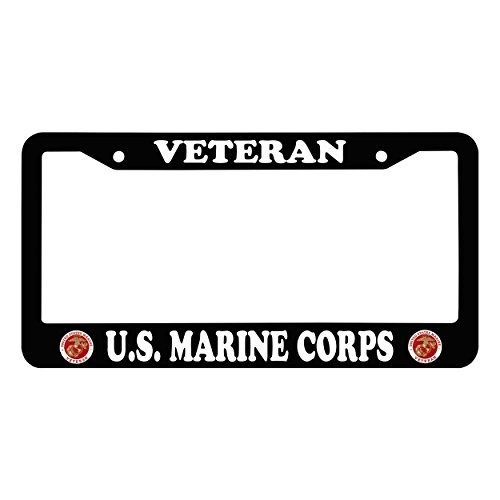 Chawuux U.S. MARINE CORPS VETERAN Waterproof License Plate Frame With Logo Auto Car License Plate Frame, Black Funny Matte License Frame With Matching Screw - Frame Marines Plate License