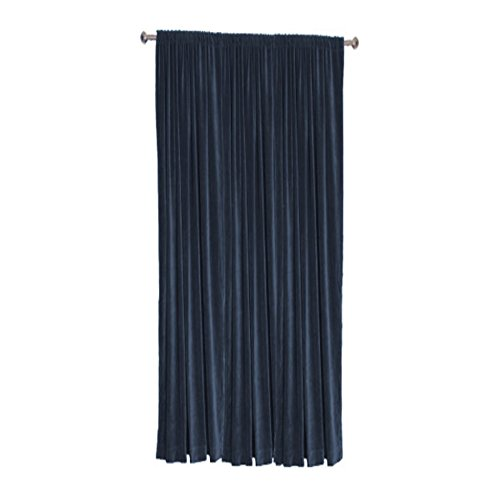 Cotton Velvet Blackout Thermal Insulated Rod Pocket Curtain Panel (Single Panel) by TheVelvetCompany-50''w X 108''h-Navy (108' Rod Pocket)