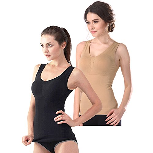 Women's Cami Shaper Tank Top with Built in Bra Removable (Black,Khaki, Large)