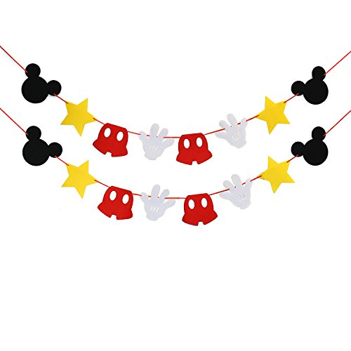 Mickey Mouse Themed Felt Garland Birthday Party Banner Decoration Supplies (Mickey Mouse Baby Shower Ideas)