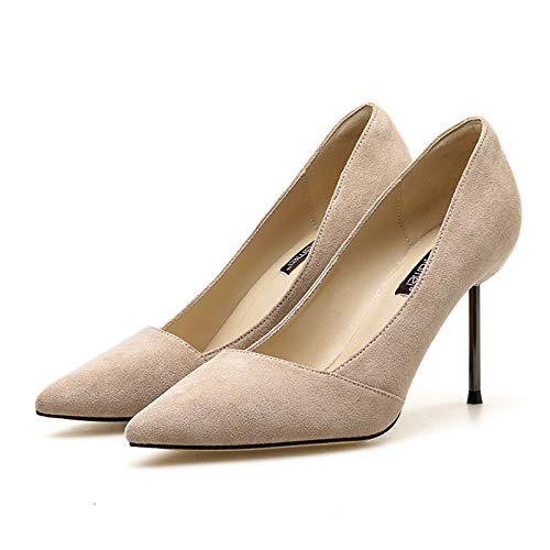 Yukun Nude High Blue Women'S Suede Nude High Pointed Princess Wild Autumn Girl Dark Heel 39 heels Fresh Small Stiletto rrSCw0dq