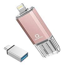 Qarfee フラッシュドライブ USB メモリー 32GB iPhone/PC/Android 3in1 専用アプリ OTG Type- C変換アダプター付属
