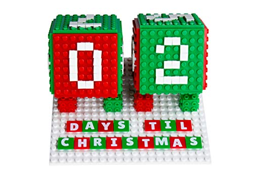 Countdown to Christmas Advent Calendar Set | Holiday Decorations STEM Toy Set | Building Bricks & Block Set Compatible with All Major Brands | 203 Pieces | Baseplates, Pixels, & 3D Briks ()