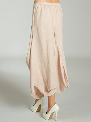 jupe lin Jupe Rose longue sur CASPAR pour Maxi Jupe RO018 lgre femme devant poches avec d't en le gRnqxP