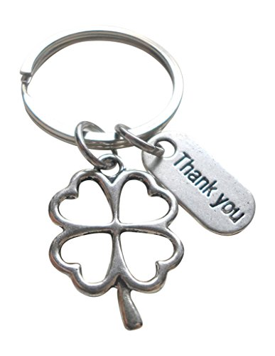 Employee Appreciation Gift, Thank You Tag and Clover Charm Keychain, Lucky to Work with You! (Clover Key Charm)