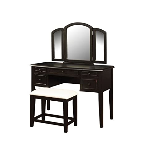 Powell Antique Black with Sand Through Terra Cotta Vanity Mirror and Bench - Amazon.com: Powell Antique Black With Sand Through Terra Cotta