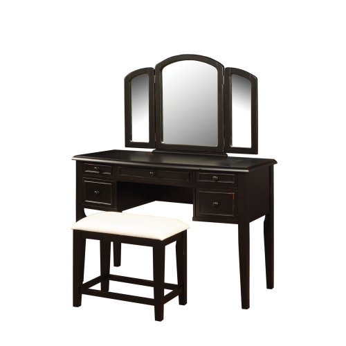 (Powell Antique Black with Sand Through Terra Cotta Vanity Mirror and Bench )