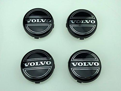 AOWIFT 4x VOLVO ALLOY WHEEL BADGES CENTER HUB CAPS 64mm BLACK C70 S60 V60 V70 S80 XC90