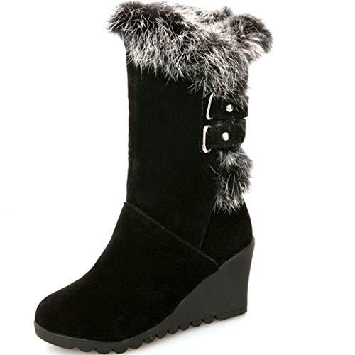 - GIY Women's Waterproof Mid Calf Snow Boots Comfortable Walking Slip On Lightweight Winter Warm Fur Outdoor Boots