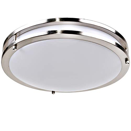Hykolity 14 Inch LED Ceiling Light, 22W [160W Equivalent] 1650lm 4000K BN Finish Dimmable Saturn Flushmount Ceiling Light for Bedroom, Restroom, Walk in Closet, Washroom, Living Room by hykolity