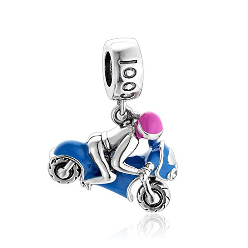 JOYOTO Women's Motorcycles 925 Sterling Silver Red Cubic-Zirconia Blue Enamel Pendant Bead,Travel series Charms