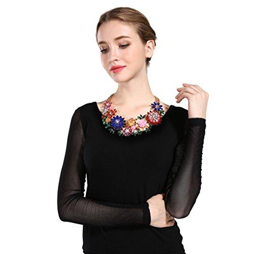 Zhenhui Crystal Flowers Statement Necklace