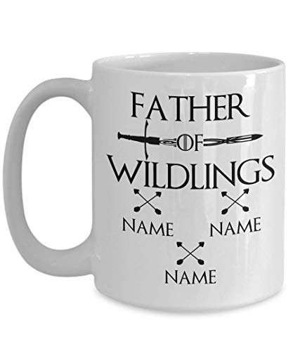 Dad Gifts From Kids Fantasy Cosplay Coffee Mug Personalized Custom Father of Wildlings Fathers Day Birthday Christmas Gift Idea For Him Men Daddy Father Tea Cup White Ceramic (15oz)