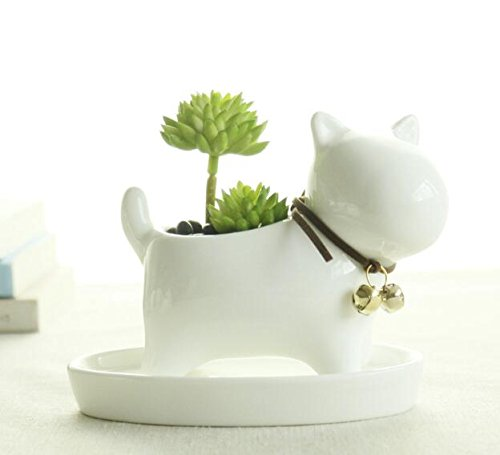 Ceramic Bell (Small Lovely White Ceramic Succulent Plant Flower Pot with Tray, Modern Simple Style Neck with Bell - Dog)