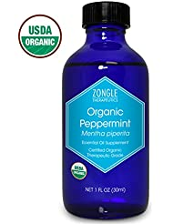 Zongle USDA Certified Organic Peppermint Oil, Safe to Ingest, Mentha Piperita, 1 oz