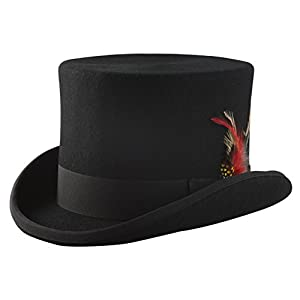 Patterns of Time Black Top Hat, Lined Wool Felt