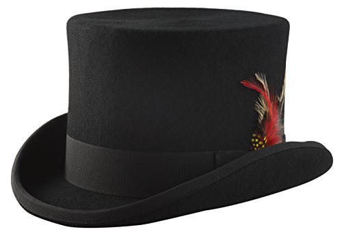 (Black Wool Felt Top Hat - Size Large)