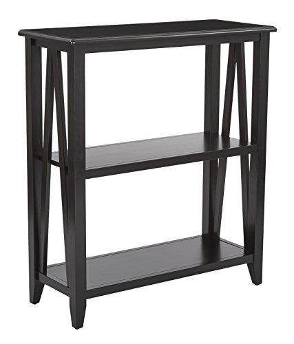 Office Star Santa Cruz Solid Wood and Veneer 3 Shelf Book Case, Black (Office Santa Cruz Furniture)