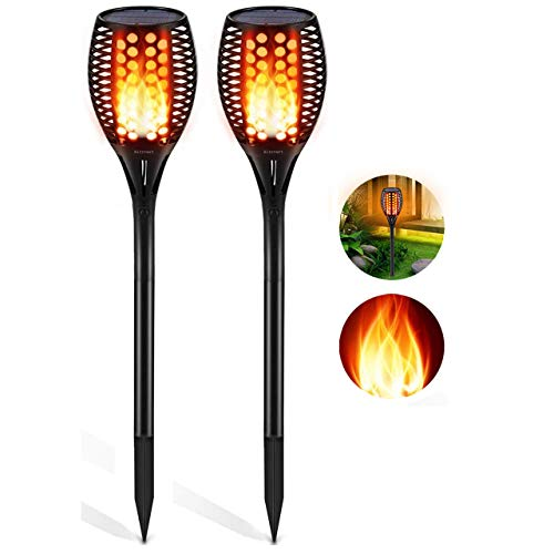 Aityvert Solar Lights Outdoor, Waterproof Flickering Flame Solar Torch Lights Dancing Flame Lights Landscape Decoration Lighting Dusk to Dawn Auto On/Off Security Path Lights for Patio Deck 2 Packs (Eternal Candles Light)