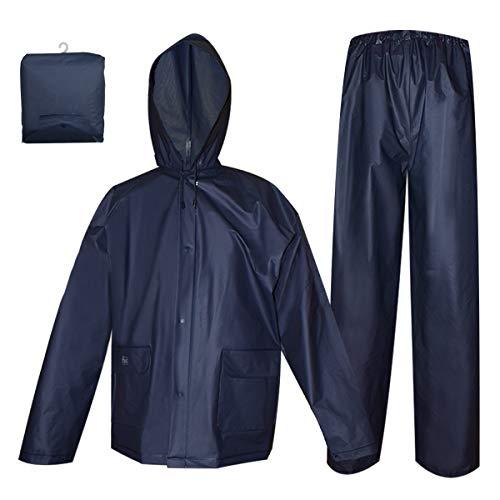 Rain Coat for Women Men Waterproof Jacket with Pants 2Pcs Ultra-Lite Suits EVA Reusable Portable Packable (Medium, Navy) (Rain Pants For Woman)
