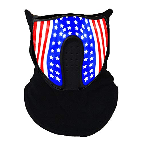 Music LED Party Mask with Sound Active Cool Mask Rave Mask American Flag Pattern for Dancing, Riding, Skating, Party]()