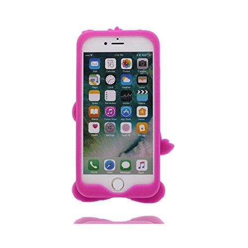 iPhone 6 Plus Custodia Cover, Durevole Shell TPU Flexible iPhone 6 Plus / 6S Plus Copertura Case 5.5 A prova di polvere (Cartoon 3D orso rosa) Bear Pretty Soft