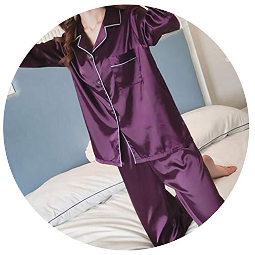 (Pajamas for Women Satin Women Pajamas Sets Long Sleeves Turn-Down Collar Pocket Decor Top+Pants Women Silk)