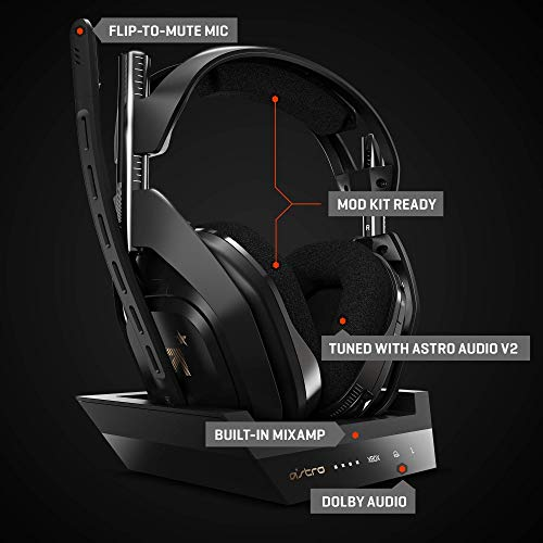 ASTRO Gaming A50 Wireless + Base Station for Xbox One & PC – Black/Gold 412YV1ysZDL