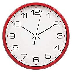 Harryup Large Wall Clock Silent & Non-Ticking - Indoor/Outdoor - Modern Quartz Design - Decorative 12-Inch Red Clock