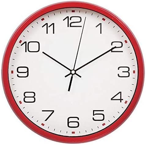 Harryup 12 Silent Non-Ticking Wall Clock Easy to Read Modern Quartz Design Clock Red