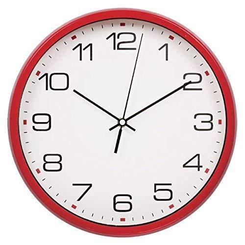 Harryup Large Wall Clock Silent & Non-Ticking - Indoor/Outdoor - Modern Quartz Design - Decorative 12-Inch Red Clock
